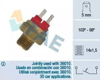 FAE 36020 - Temperatuuri lüliti, radiaatori / konditsioneeri ventilaator japanparts.ee