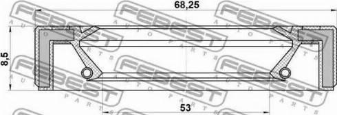 Febest 95GAY-55680808L - Võlli rõngastihend, jaotuskast japanparts.ee