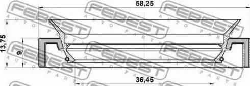 Febest 95HAY-38580914C - Võlli rõngastihend,diferentsiaal japanparts.ee