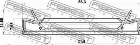 Febest 95HEY-33560814C - Võlli rõngastihend,automaatkäigukast japanparts.ee