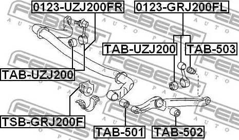 Febest TAB-503 - Paigutus,stabilisaator japanparts.ee